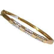 14k Yellow gold Bangle Bracelet with Diamonds