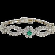 14 Karat White Gold Antique Diamond & Emerald Bracelet