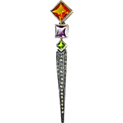 Charming Vintage Sterling Silver Bar Pin with Mardi Gras Colored Gemstones
