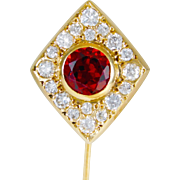 Breathtaking Antique 14k Gold Stickpin with 1ct Red Garnet and European Cut Diamonds