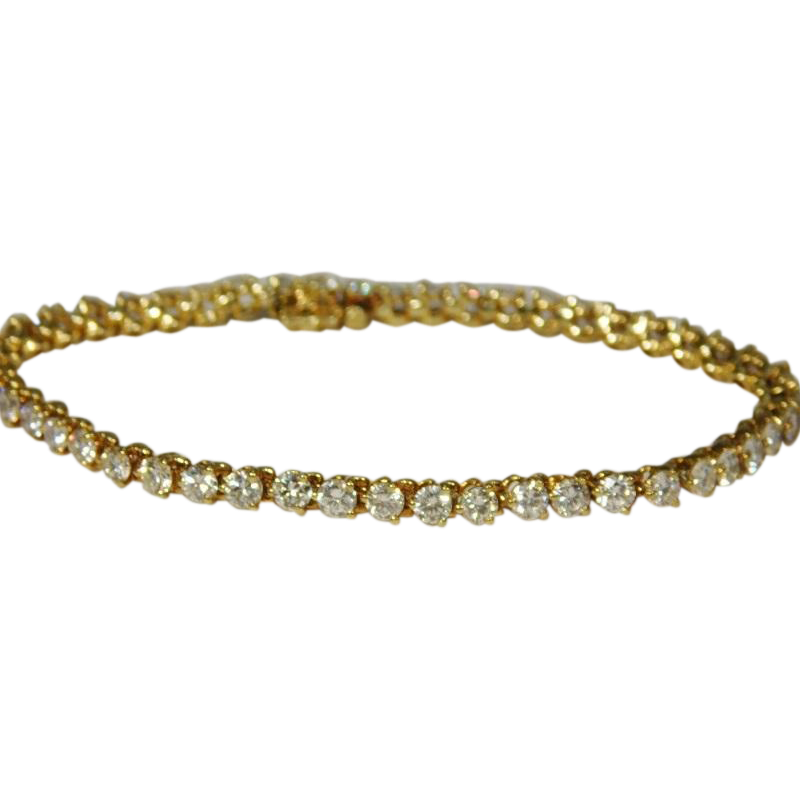 18 karat Yellow Gold 5ct Diamond Tennis Bracelet from ...