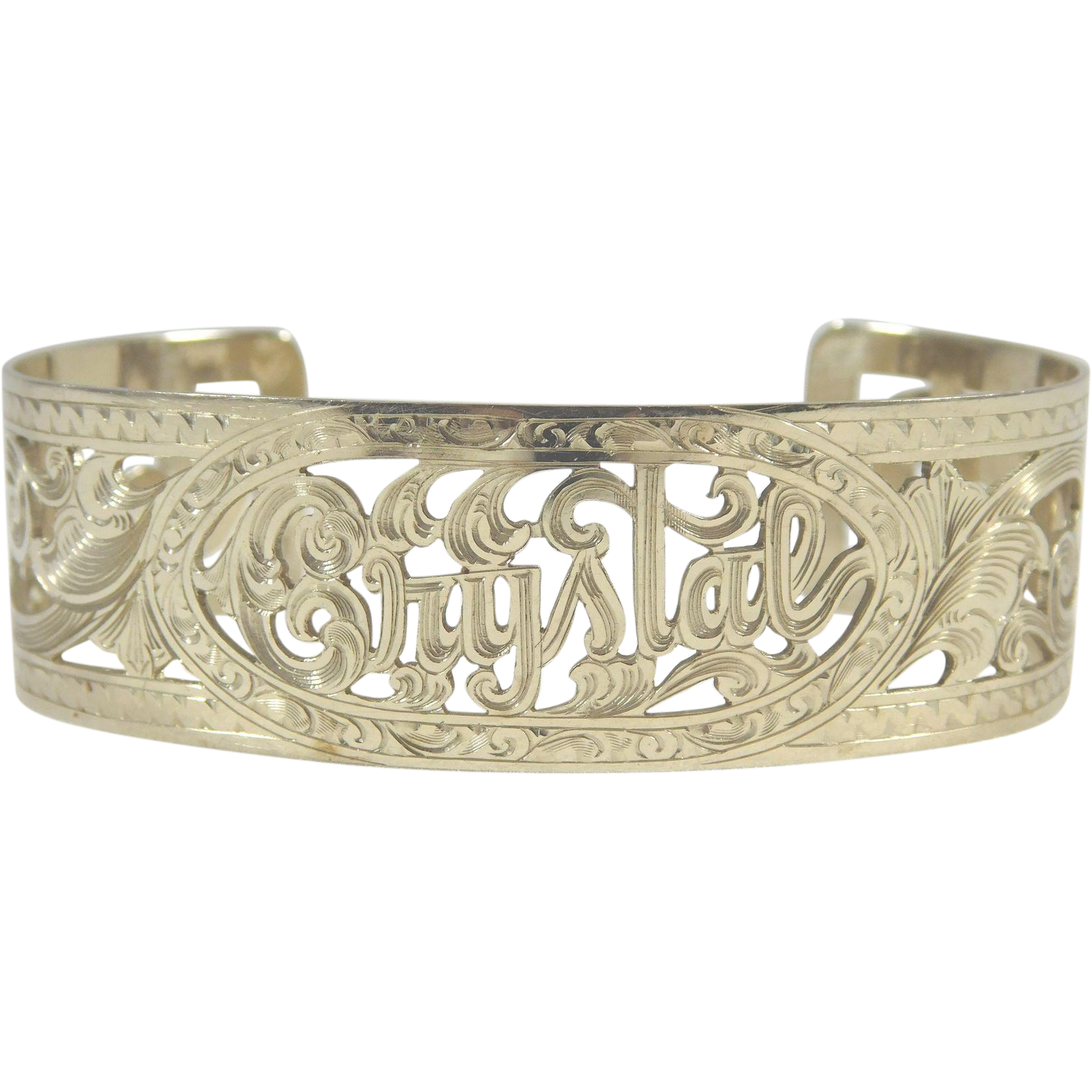 White Gold Cuff Bracelet: 14 Karat White Gold Designer Cuff Bracelet Monogrammed For