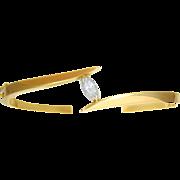 Vintage 14k Gold Bangle Bracelet with Dazzling Marquise Diamond