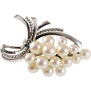 Exquisite Signed Mikimoto Tokyo Vintage Silver 15 Pearl Brooch