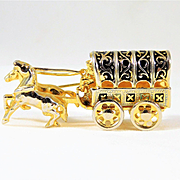 Very Unique Vintage Gold Plated Wagon Pin