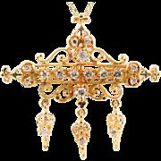 Ornate Vintage 14k Gold and Diamond Brooch Pendant