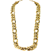 Absolutely Enormous! Italian-Made 29 inch14k Gold Figaro Chain