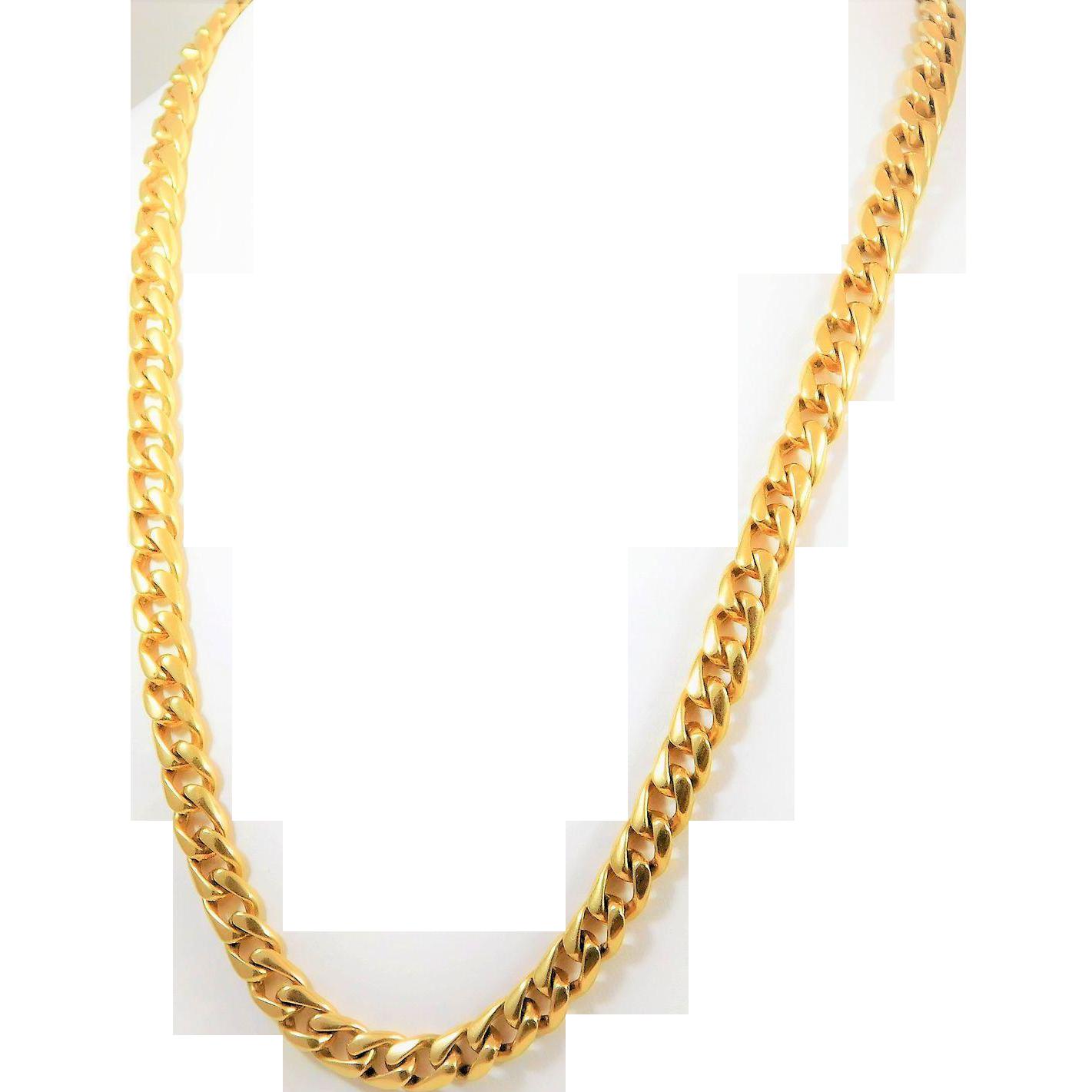 Stylish 14k Gold 7mm 21inch Fancy Curb Link Chain Edberg