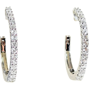 Brand New Gorgeous White Gold and Diamond Hoop Earrings
