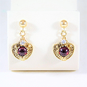 Vintage 14k Gold Dangle Earrings with Garnet Cabochons and Diamonds