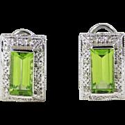 Stunning 14k White Gold Earrings with Emerald-Cut AA Peridots and Diamonds