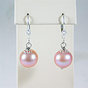 Hand-Made Natural 11mm Pink Pearl and Sterling Silver Dangle Earrings