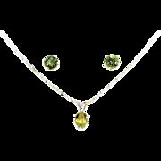 Hand Set Peridot Earring/Pendant Necklace Set