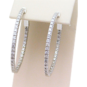 1.50ct Inside/Out Diamond Oval Hoop Earrings in 14k White Gold