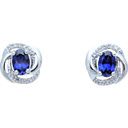 1ct White Gold Blue Natural Sapphire and Diamond Stud Earrings
