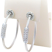 14k White Gold Diamond Hoop Earrings with Detachable Diamond Jackets