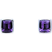 Vintage Signed Lagos Caviar Sterling and 18k Gold Emerald Cut Amethyst Earrings