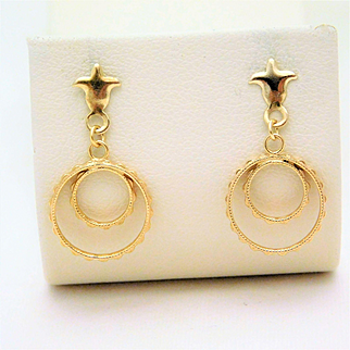 Vintage 14k Gold Circle Dangle Earrings