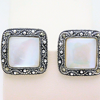 Vintage Sterling Silver Marcasite, and Mother of Pearl Earrings