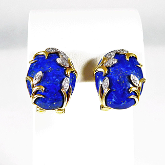 Exotic Lapis Lazuli and Diamond Earrings with 14k Gold Setting
