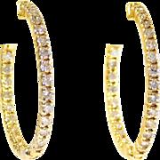 14k Gold and Dazzling Diamond Hoop Earrings