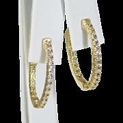 14k Yellow Gold and Diamond Oval Hoop Earrings