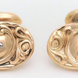 Late Victorian 10k Gold Cufflinks with Mine Cut Diamonds