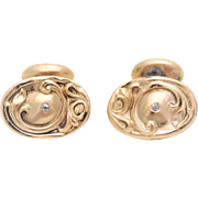Late Victorian 10k Gold Cufflinks with Mine Cut Diamonds