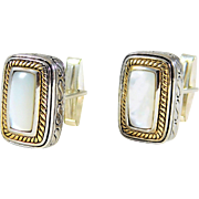 One-of-a-Kind Handmade Two-Tone 14k Gold and Mother of Pearl Cufflinks