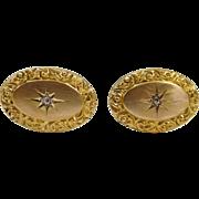 Antique 10 Karat Yellow Gold Cufflinks Each w/ Diamond Center Stone