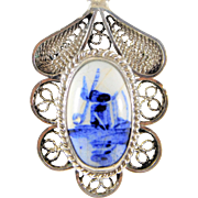 Signed Circa 1940's Delft Silver Filigree and Porcelain Pendant with Hand-Painted Windmill