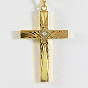 Vintage 14k Gold Cross Pendant with Diamond