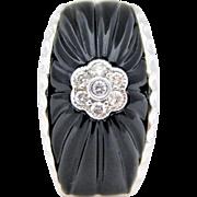 Vintage 14k White Gold Black Onyx and Diamond Slide Pendant