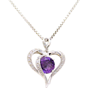 Vintage Sterling Silver Amethyst Heart Pendant Necklace