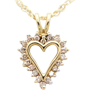 10k Gold ¼ Carat Diamond Heart Pendant