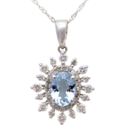 Gorgeous Natural Oval-Faceted Aqua Marine and Diamond Necklace in 14k White Gold