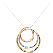 Three Tone Gold Circle Diamond Pendant Necklace