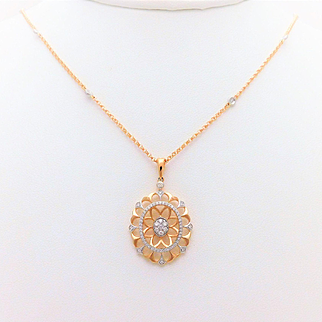 14k Rose Gold Diamond Pendant Necklace With White Gold Accents