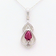 Vintage Style 14k White Gold Ruby and Diamond Pendant Necklace
