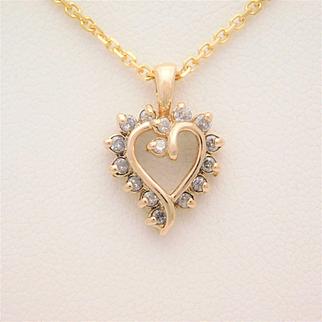 Vintage 14k Gold and Diamond Heart Pendant