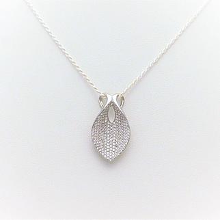 14k White Gold Pave-Set Diamond Slide Pendant