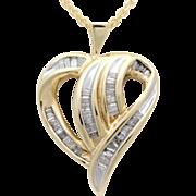 Vintage 10k Gold and Diamond Heart Pendant