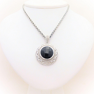Sterling Silver Black Onyx and Diamond Halo Pendant Necklace