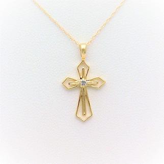 14k Gold Diamond Cross Pendant Necklace
