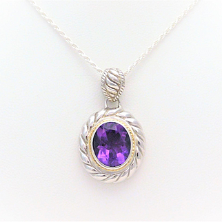 18k Gold and Sterling Silver 4.50ct Oval Amethyst Pendant Necklace
