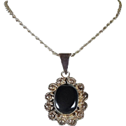 Vintage Sterling Silver Necklace with Black Onyx Pendant