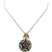 Handmade Sterling Silver Necklace with Rhinestones and Gemstones