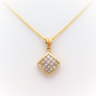 14k Gold Invisible Set Diamond Pendant Necklace