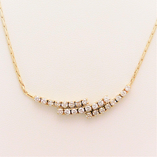 Vintage Hand Made 14k Gold and Diamond Necklace