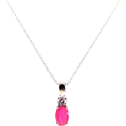 Beautiful Hand-Crafted 10k White Gold, Ruby, and Diamond Pendant Necklace
